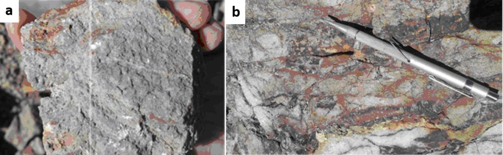 Figure 2. a. - massive fine quartz with patchy saccharoidal alunite; b. - Quartz-hematite veins.