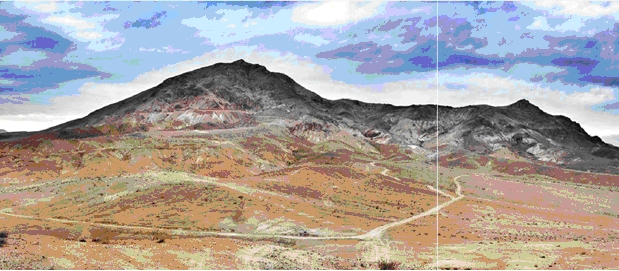 Figure 3. Panoramic view of the Lithocap outcropping adjacent to the north of Condor project.