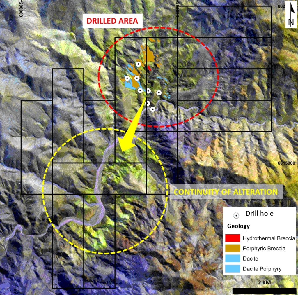 Figure 4. Fortuna exploration potential, clearly open to the southern alteration zone.