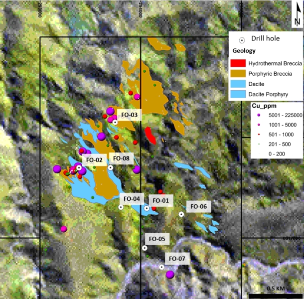 Figure 3. Geology and mineralization, and Cu results at Fortuna project.